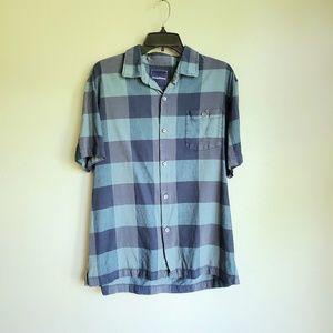 Tommy Bahama 100% Silk Plaid Button Down Shirt